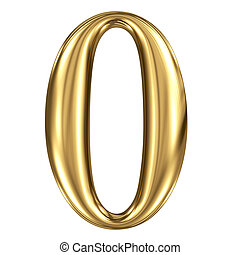 Golden shining metallic 3D symbol figure 0 isolated on white