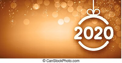 Golden shiny 2020 New Year banner with Christmas ball and snow.