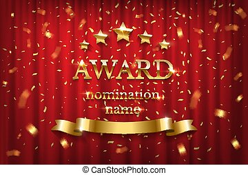 Golden shiny award sign with star and ribbon isolated on red background. Vector illustration