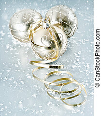 golden shiny christmas balls with snowflakes decoration