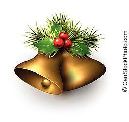 Golden shiny christmas bells.