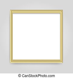 Golden shiny realistic glowing frame isolated over white background. Gold metal luxury blank rectangle border. Vector background illustration template.