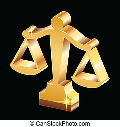 golden shiny justice scales icon - Vector golden shiny...