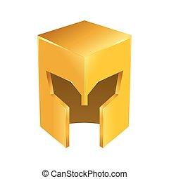 Golden Shiny Medieval Knight Helmet