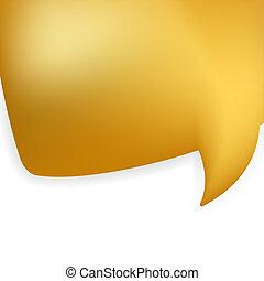 Golden shiny modern speech bubble. EPS 8