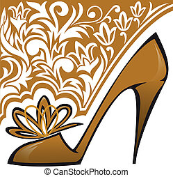 Golden Shoe - golden shoes with high heels on the asymmetric...