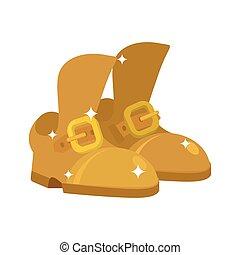Golden shoes. Precious footwear. fashion Royal footgear isolated