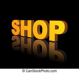 shop - golden shop text on black background - 3d ...