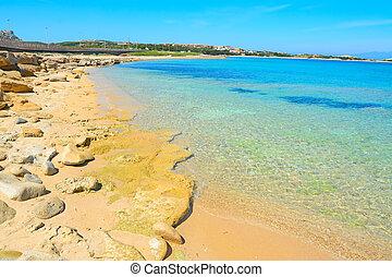 golden shore in Capo Testa, Sardinia