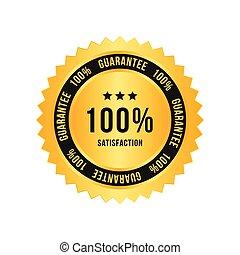 Golden sign 100 percent satisfaction guarantee. Flat vector illustration EPS 10