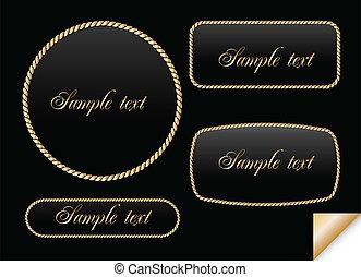Golden sign on chain. Vector frame illustration