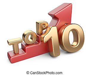 Golden sign top 10 and a red ladder. 3D image isolated on...