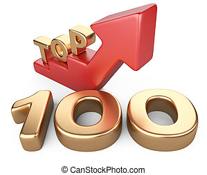 Golden sign top 100 and a red ladder. 3D image isolated on...