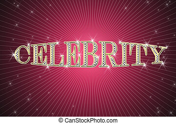 golden sign, written word celebrity on red background with...