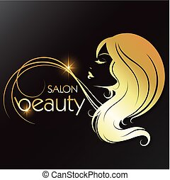 Golden silhouette of a girl beauty salon