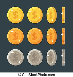 Golden, silver and bronze flat cartoon coins rotation for web or game interface. Vector illustration isolated on dark background.