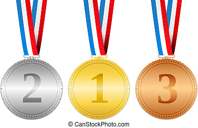 Golden, silver and bronze medals hanging on a ribbons,...