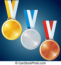 Golden, Silver and Bronze Medals. Vector Set