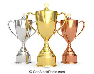Golden, silver and bronze trophy cups on white