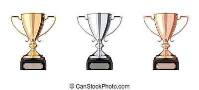 Golden, silver and bronze trophy set