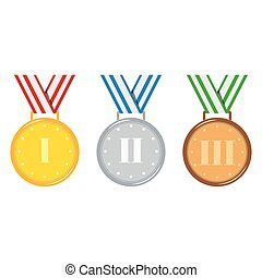 Golden, silver, bronze medals set isolated on white background.
