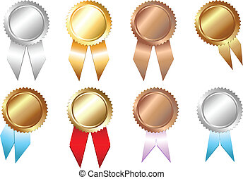 Golden, Silver, Bronze Seal of Approvals, Isolated On White