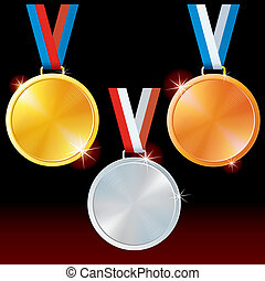 Golden, Silver, Bronze Sport Medals.