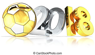 golden silver football soccer ball 2018 3d rendering