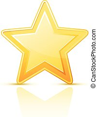 Golden simple star icon on white background
