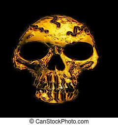 golden skull bone on the black background