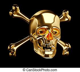 Golden Skull with cross bones or totenkopf