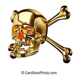 Golden Skull with cross bones or totenkopf isolated