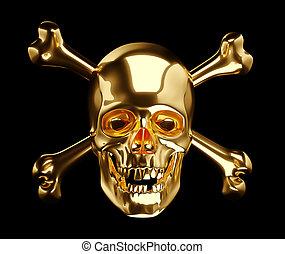 Golden Skull with cross bones or totenkopf on black