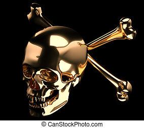 Golden Skull with crossed bones or totenkopf