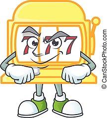Golden slot machine mascot icon design style with Smirking face