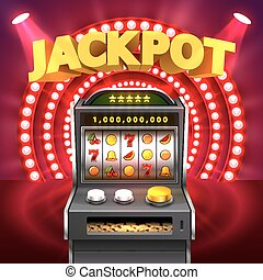 Golden slot machine wins the jackpot. Isolated on red...