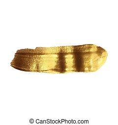 Golden smear vector brush stroke. Varnish splash line trace...
