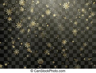 Golden snowfall. Christmas and New Year background. Frost Snow and Sunshine. Winter pattern with crystallic snowflakes. Vector illustration