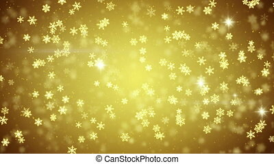 golden snowfall glowing snowflakes seamless loop