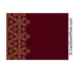 Golden snowflake border on burgundy background