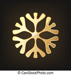 Golden snowflake icon. Vector illustration.