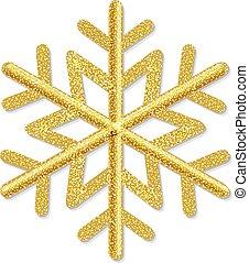 Golden Snowflake Isolated White Background