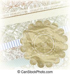 golden snowflake on scrapbook pattern