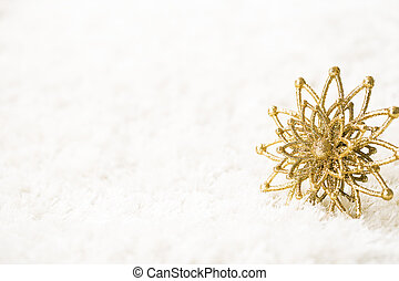 Golden Snowflake on White Background, Abstract Gold Snow...