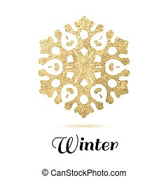 Golden snowflake on white background with shadow