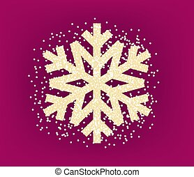 Golden snowflake with confetti on red background