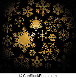 Golden snowflakes on black background