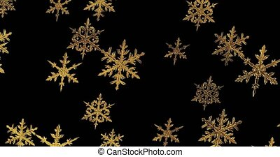 Golden snowflakes on black background with alpha channel, 3d render. Seamless loop.