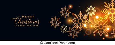 golden snowflakes on black merry christmas banner
