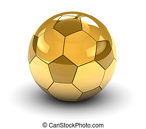 Golden Soccer Ball - Golden soccer ball isolated on a white...